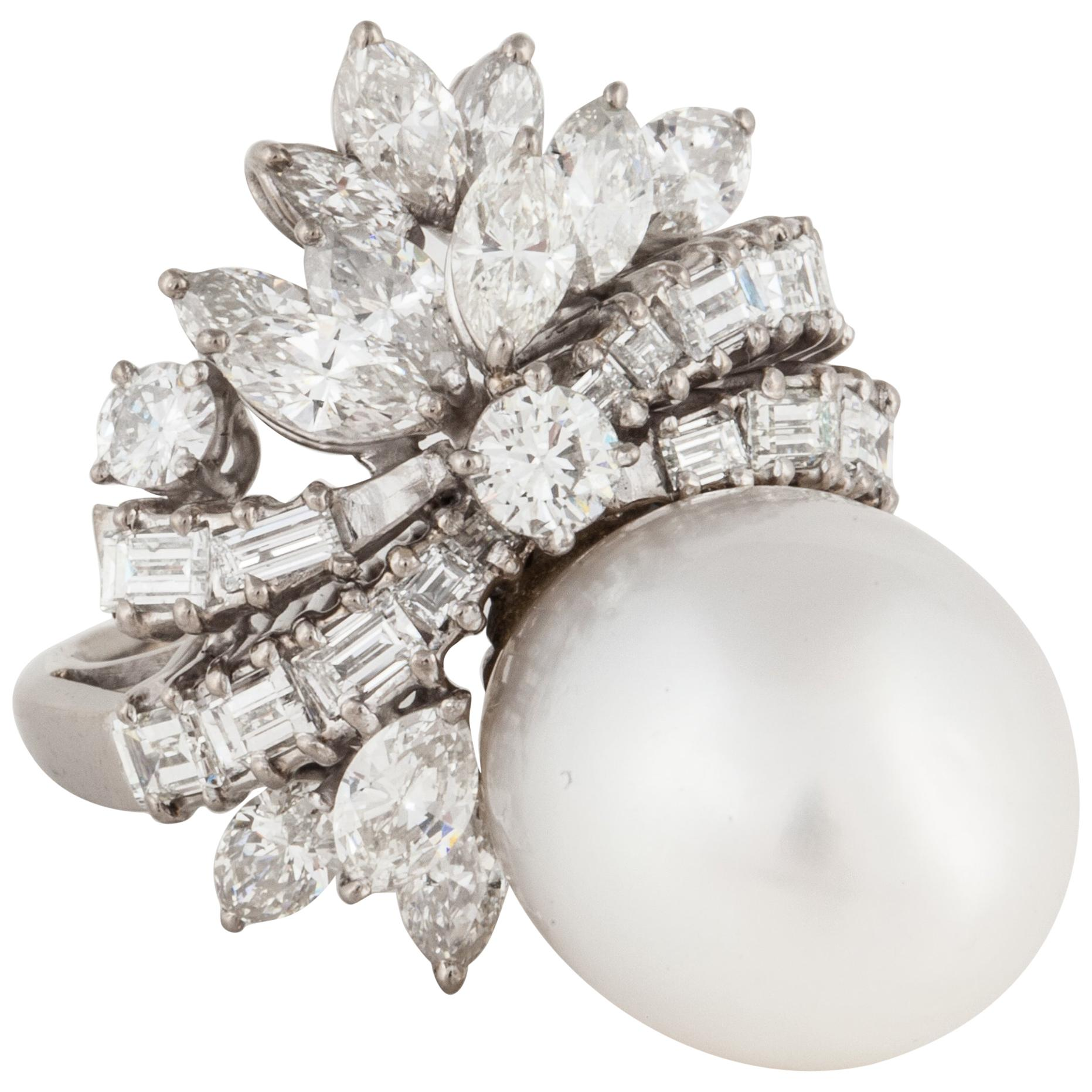 Palladium Pearl Diamond Cocktail Ring