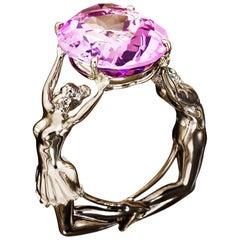 Palladium Pink Amethyst Cocktail Ring