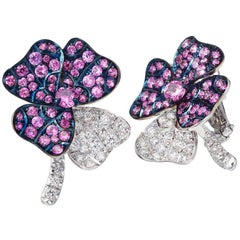 Palladium Pink Sapphires White Diamonds Earrings Aenea Jewellery