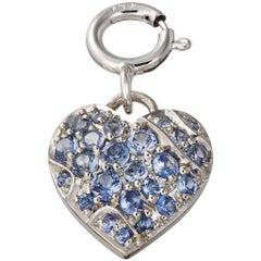 Palladium Platinum Blue Sapphire Heart Pendant