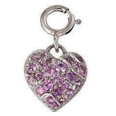Palladium Platinum Pink Sapphire Heart Pendant