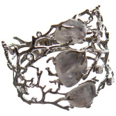 Palladium  Rainbow Moonstones White Diamonds Bangle