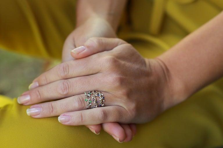 Palladium  Rainbow Moonstones White Diamonds Double Ring For Sale 5