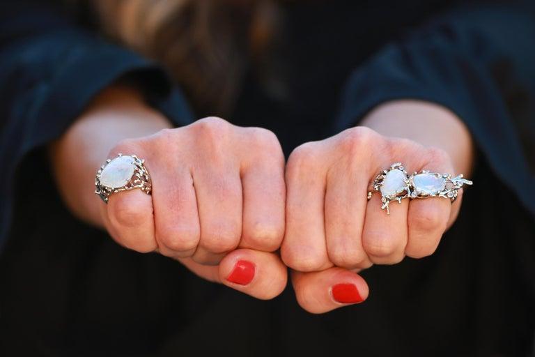 Modern Palladium  Rainbow Moonstones White Diamonds Double Ring For Sale