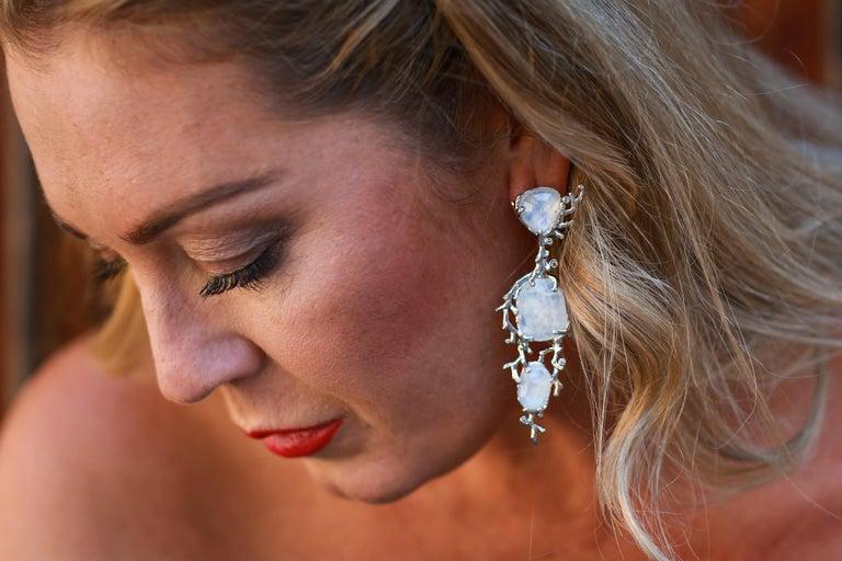 Women's Palladium  Rainbow Moonstones White Diamonds Double Ring For Sale