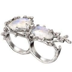 Palladium  Rainbow Moonstones White Diamonds Double Ring