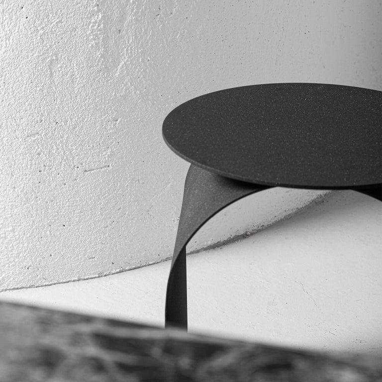 Spinzi Palladium Side Table Round Top For Sale 6