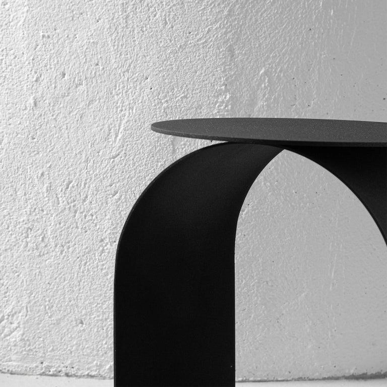 Spinzi Palladium Side Table Round Top For Sale 2