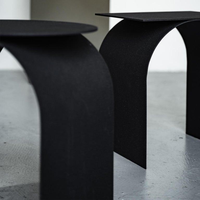 Spinzi Palladium Side Table Round Top For Sale 4