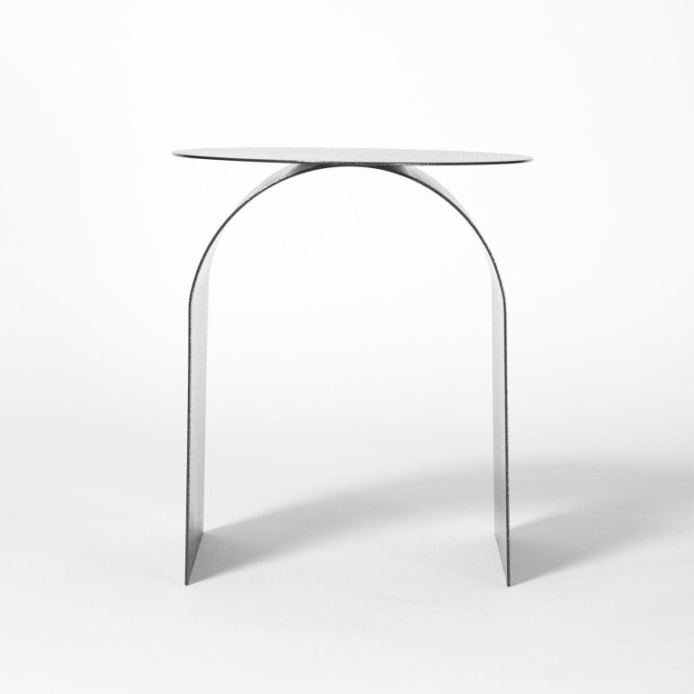 Spinzi Palladium Side Table Round Top In New Condition For Sale In Milan, IT