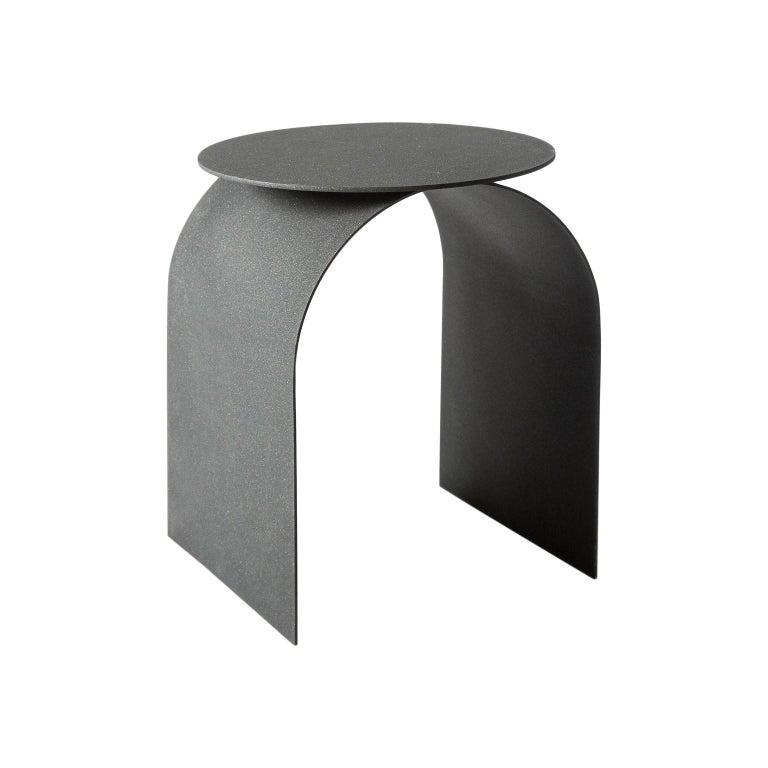 Italian Spinzi Palladium Side Table Round Top For Sale