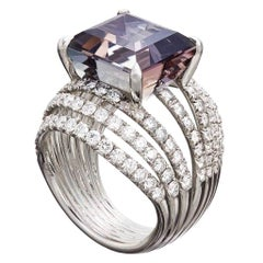 Palladium White Diamonds Purple Tanzanite Ring