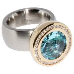 Palladium with 18k Gold, Designer Ring by Rohrbacher, Aquamarine and Diamonds