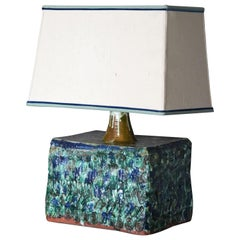 Palle Jensen, Modernist Studio Table Lamp, Glazed Ceramic, Fabric, Denmark 1960s