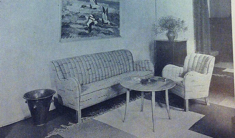 Palle Suenson and Fritz Hansen, Sofa and Easy Chair, 1940s For Sale 1