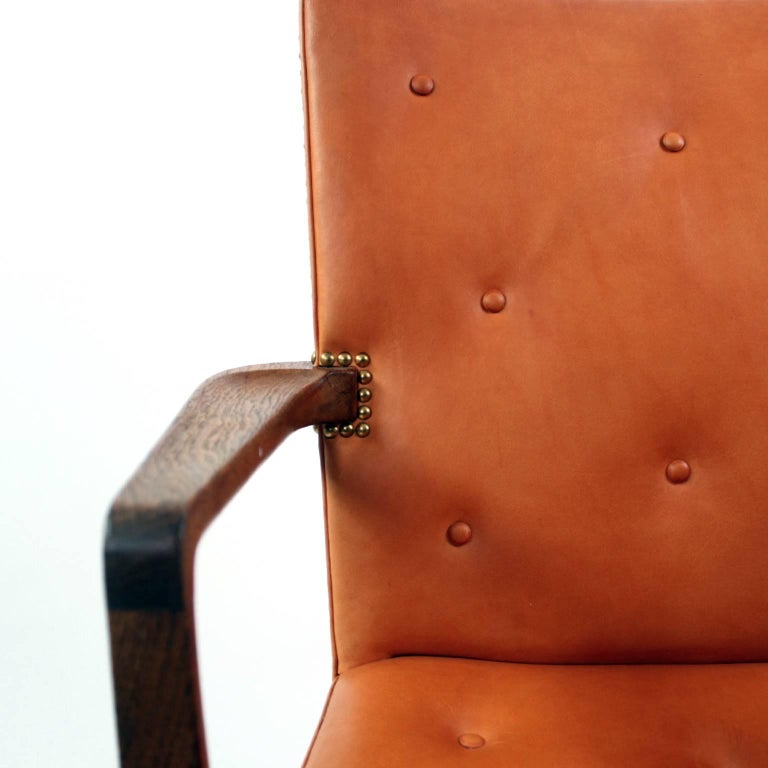 20th Century Palle Suenson, Rare Executive Desk Chair in Walnut, Brass and Leather, 1940s