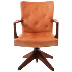 Palle Suenson, Rare Executive Desk Chair in Walnut, Brass and Leather, 1940s