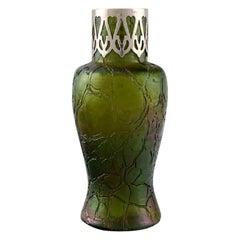 Pallme-könig Art Nouveau Vase in Green Art Glass, App. 1900