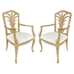 Palm Beach Regency Faux Bois Carved Armchairs, a Pair