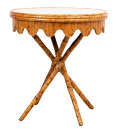 Palm Beach Regency Mid Century Round Bamboo Glass Top Table