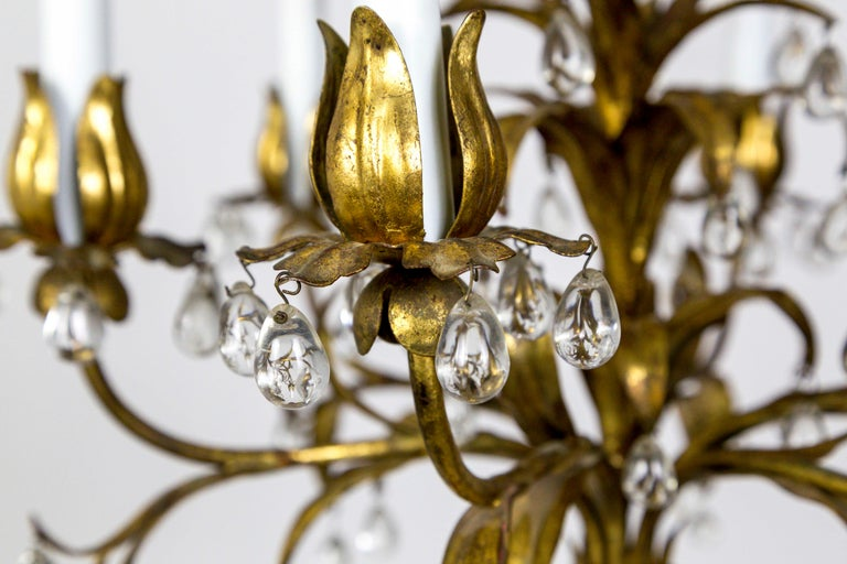 Palm Beach Style Gilt Leaves and Grape Crystal Chandelier For Sale 4