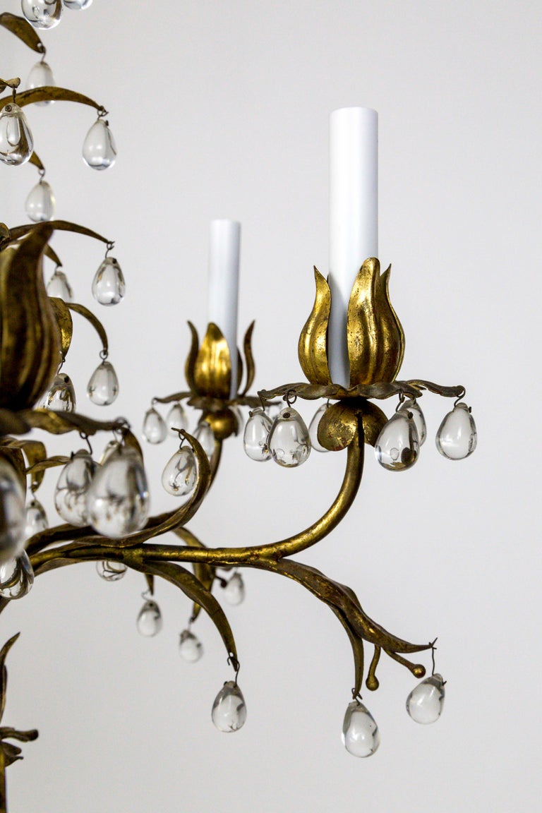 Palm Beach Style Gilt Leaves and Grape Crystal Chandelier For Sale 5