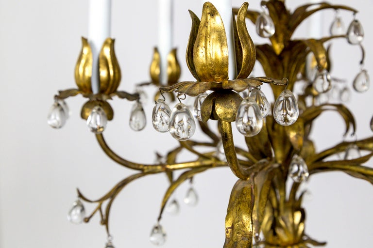 Palm Beach Style Gilt Leaves and Grape Crystal Chandelier For Sale 7