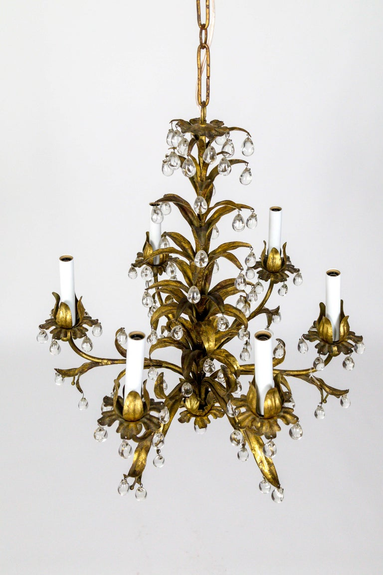 Hollywood Regency Palm Beach Style Gilt Leaves and Grape Crystal Chandelier For Sale