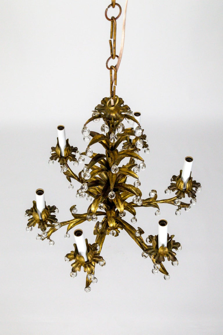 North American Palm Beach Style Gilt Leaves and Grape Crystal Chandelier For Sale