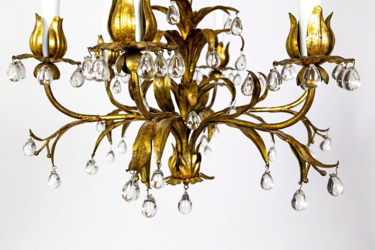 Palm Beach Style Gilt Leaves and Grape Crystal Chandelier In Good Condition For Sale In San Francisco, CA