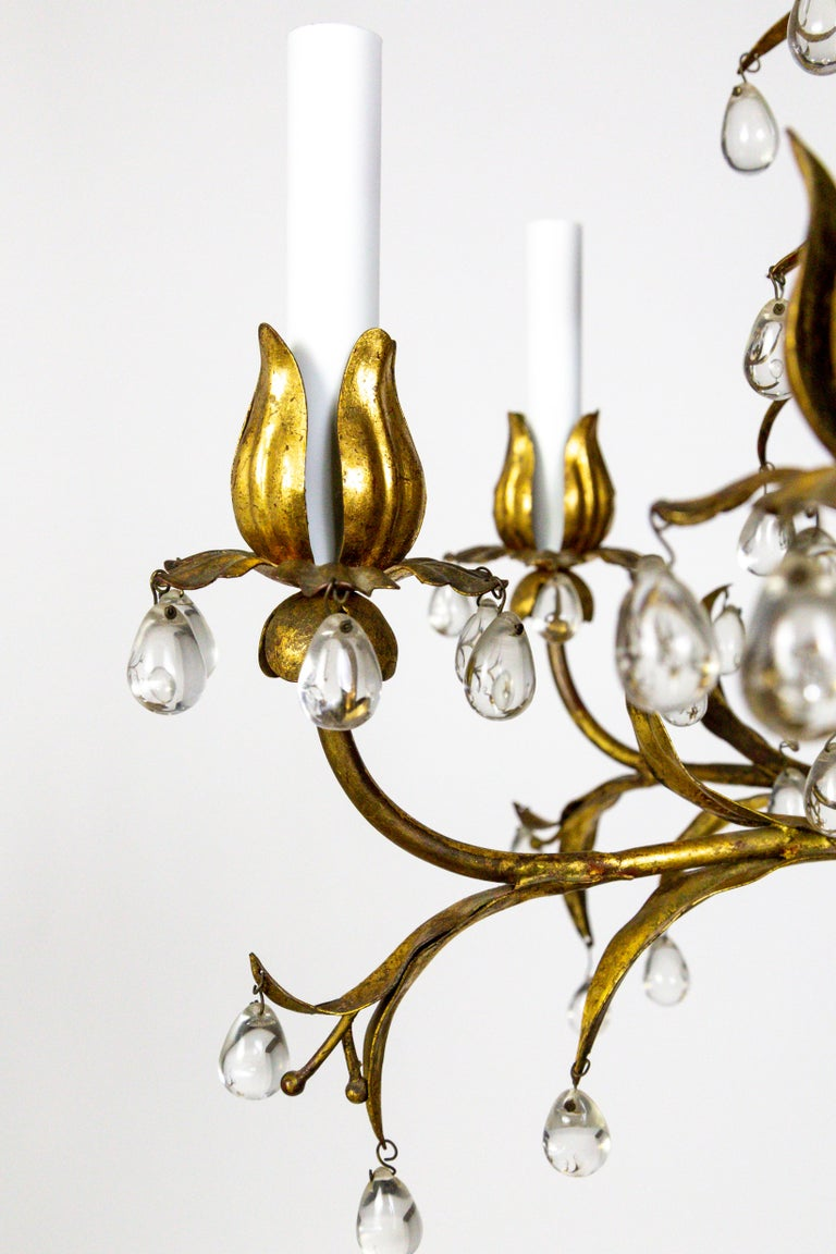 20th Century Palm Beach Style Gilt Leaves and Grape Crystal Chandelier For Sale