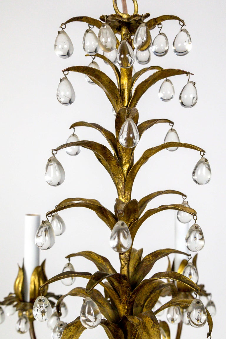 Metal Palm Beach Style Gilt Leaves and Grape Crystal Chandelier For Sale