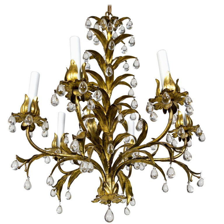 Palm Beach Style Gilt Leaves and Grape Crystal Chandelier For Sale