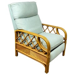 Palm Beach Style Rattan and Bamboo Upholstered Celadon Recliner by Lane Venture