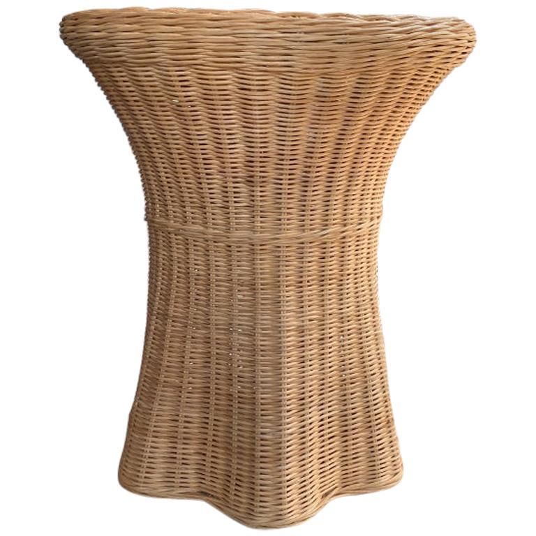 Palm Beach Style Wicker Woven Trompe L'Oeil Ghost Side Table