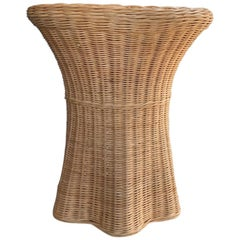 Palm Beach Style Wicker Woven Trompe L'Oeil Ghost Side Table
