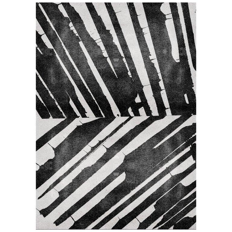 Black And White Palm Area Rug Handgetufteten Wolle And Botanische