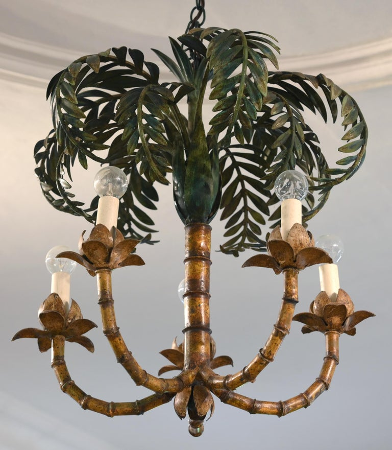 Palm chandelier France circa 1900-1920, Electrified, Art Deco, Sheet Metal  Charming lamp in form of an palm which is probably made for an conservatory. The lamp is new electrified after the European standards. The painting is original with small