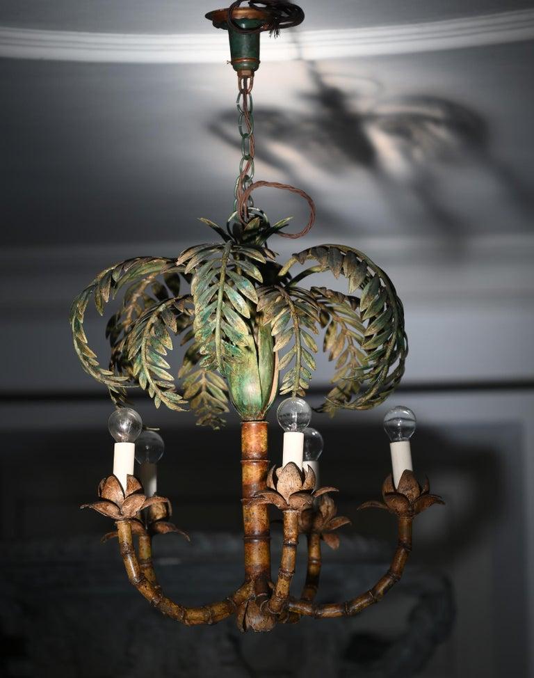 Palm Chandelier France circa 1900-1920, Electrified, Art Deco, Sheet Metal For Sale 1