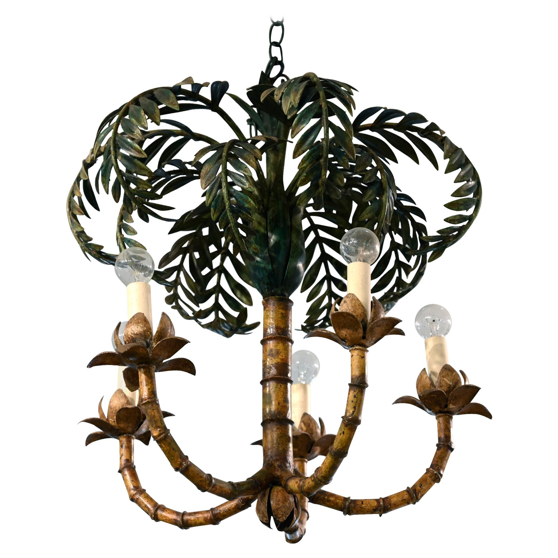 Palm Chandelier France circa 1900-1920, Electrified, Art Deco, Sheet Metal