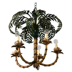 Palm Chandelier France circa 1900-1920, Electrified, Art Deco, Sheet Metal