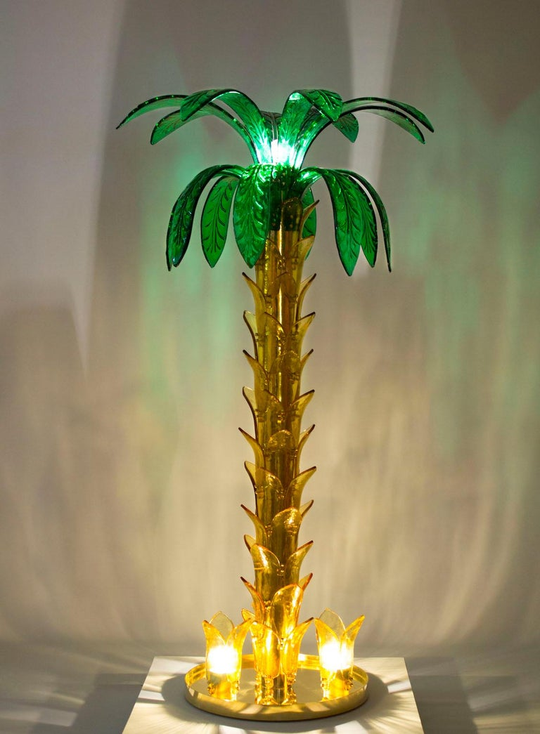 Palm Floor Lamp in Murano Glass Amber and Green  For Sale 3