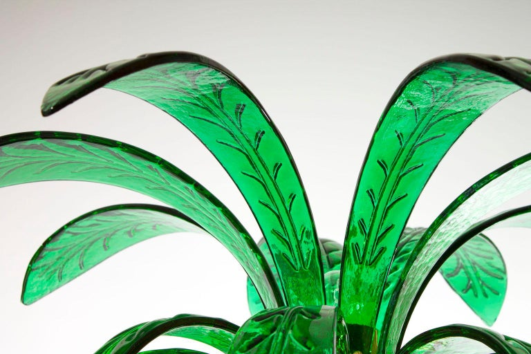 Mid-Century Modern Palm Floor Lamp in Murano Glass Amber and Green  For Sale