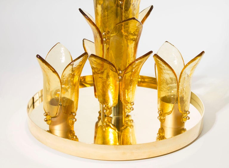 Italian Palm Floor Lamp in Murano Glass Amber and Green  For Sale