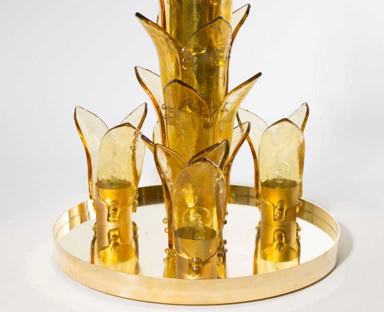 Hand-Crafted Palm Floor Lamp in Murano Glass Amber and Green  For Sale