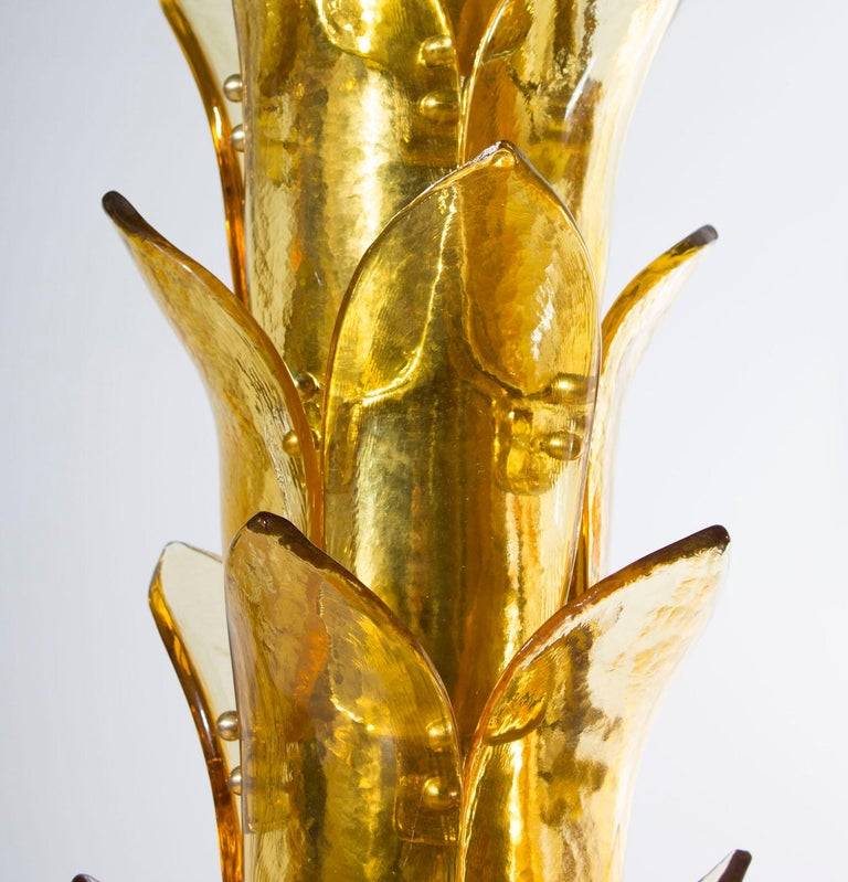 Palm Floor Lamp in Murano Glass Amber and Green Italy contemporary  In Excellent Condition For Sale In Villaverla, IT