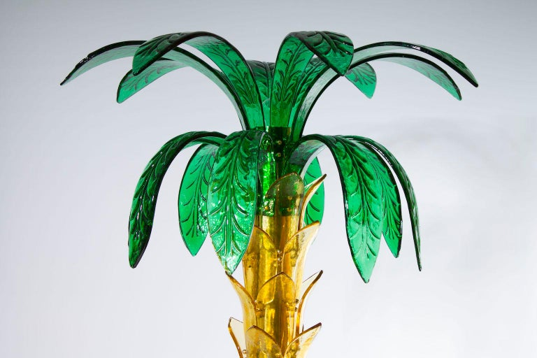 Brass Palm Floor Lamp in Murano Glass Amber and Green  For Sale