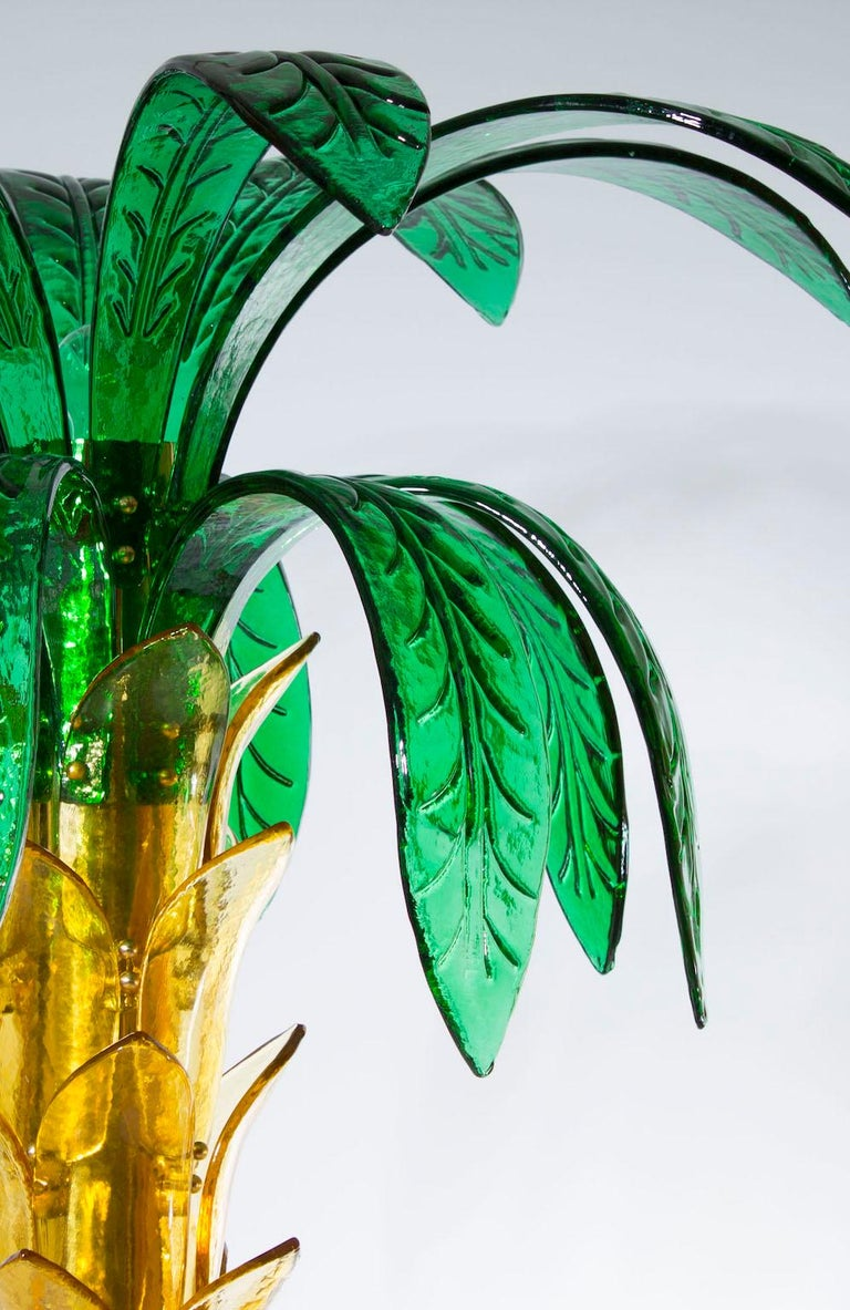 Palm Floor Lamp in Murano Glass Amber and Green  For Sale 1