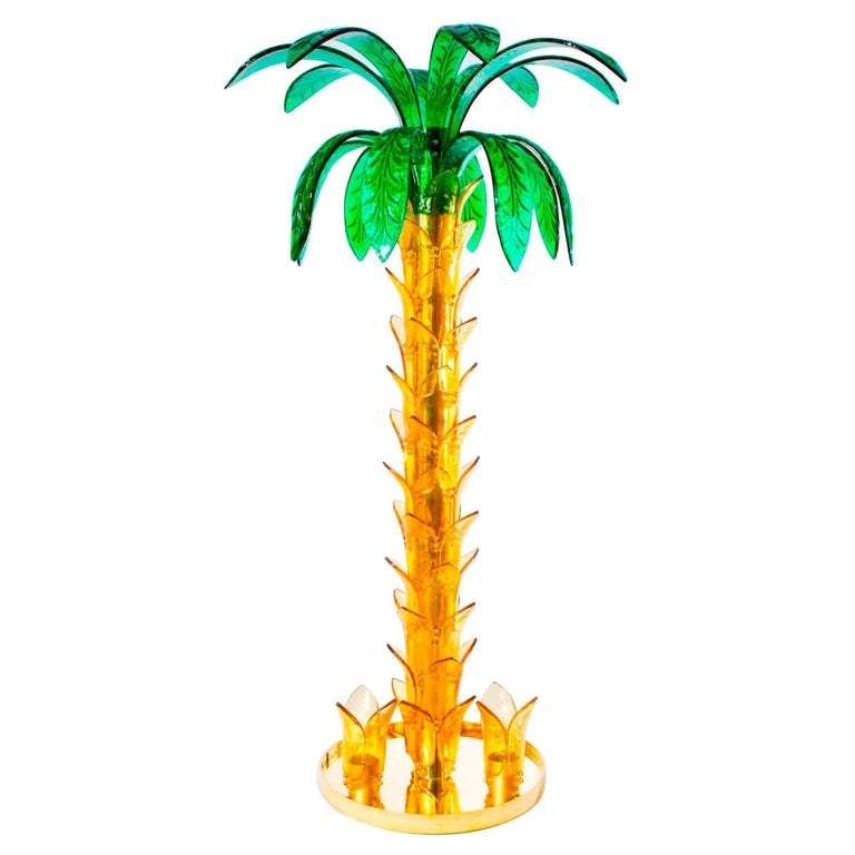 Palm Floor Lamp in Murano Glass Amber and Green  For Sale