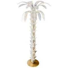 Palm Floor Lamp Opaline Blown Murano Glass on Metal Structure Italian Design